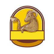 Ram Goat Drinking Coffee Crest Drawing Stock Illustration