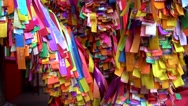 Colorful religious ribbon in Buddhist temple Stock Footage