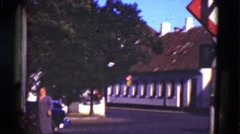 1948: traditional danish style old building in center of town. DENMARK Stock Footage