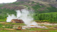 Steam Cabin in geothermal field at Huakadalur Village in Iceland Stock Footage