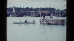 1951: officials meet at patriotic event on riverboat near large bridge  Stock Footage