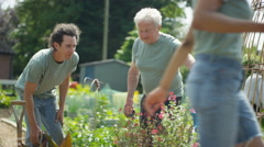 4K Cheerful volunteers of mixed ages working together in community garden Stock Footage