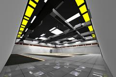 Empty Data Center Room 3D Model