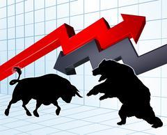 Bears Versus Bulls Stock Market Concept Piirros