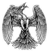 Phoenix Fire Bird in Vintage Woodcut Style Stock Illustration
