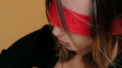 Profile of woman hostage with blindfoldeds Stock Footage