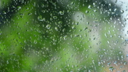 Falling Raindrops On Window Glass Stock Footage