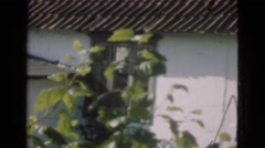 1948: an old white shabby building with tin roof DENMARK Stock Footage