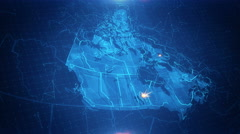 Canada Map Graphical  4K Stock Footage