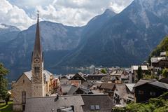 View of the Hallstatt from lake Hallstater See, Hallstatt village in Alps, Au Stock Photos