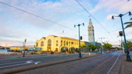 Day Night Stationary Time-lapse San Francisco Ferry Building Front Traffic 4k Stock Footage