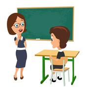 Surprised teacher with open mouth and schoolgirl sitting at a desk turning ha Stock Illustration