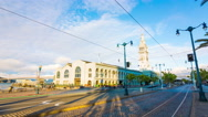 Stationary Time-lapse San Francisco Ferry Building Front Traffic Daytime 4k Stock Footage