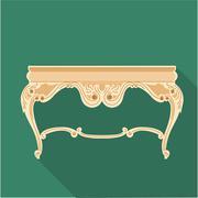 Digital vector golden vintage table isolated Stock Illustration
