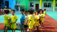 Children's sports teaching in kindergarten Stock Footage