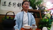 Chinese women in meditation tea art performance Stock Footage