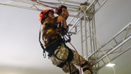 Fire fighting and rescue exercise Stock Footage