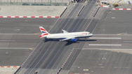 Slow motion of an aircraft taking off from Gibraltar Airport Stock Footage