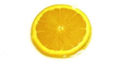 Drop of Water falling on Orange's Slice, citrus sinensis, against White Stock Footage