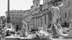 View in black and white of Sant'Agnese in Piazza Navona in Rome, Italy. Stock Footage