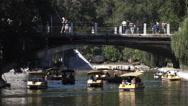 People on pleasure boats in the pond Globa Park last Chkalov Stock Footage
