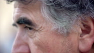 Detail of the eyes of middle-age man lloking at thecamera Stock Footage