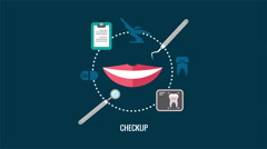 Teeth care checkup label animation with smile Stock Footage