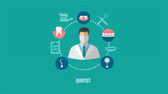 Dentist icon in teeth caring icons circle animation Arkistovideo
