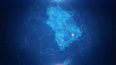 South Korea Map 4K Graphical Stock Footage
