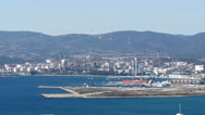 Gibraltar-San Roque Refinery from the top of the Rock Stock Footage