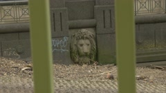 4K Lion Head Sculpture on Wall of Pier Stock Footage