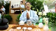 Chinese women in meditation tea art performance Stock Footage