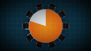 Conference table changes pie chart, indicated 80 percent. business room. Stock Footage