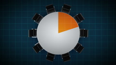 Conference table changes pie chart, indicated 20 percent. business room. Stock Footage