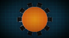 Conference table changes pie chart, indicated 100 percent. business room. Stock Footage