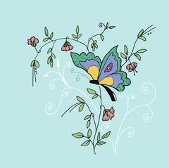 High quality original illustration of butterfly on sweet pea Stock Illustration