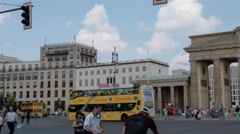 Real time establishing pan shot of Brandenburg Gate and TV Tower in Berlin Stock Footage