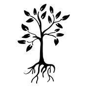 Hiqh quality Tree silhouette with leaves and roots Stock Illustration