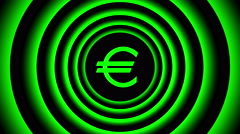 Growing euro sign surrounded by green blurred circles - visual illusion. Stock Footage