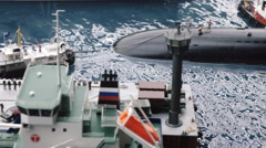 Nuclear submarine in dock Stock Footage