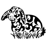 Rabbit in flowers Stock Illustration