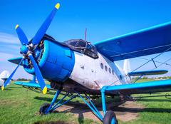 Biplane with a airscrew Stock Photos