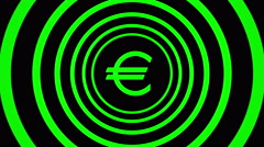 Growing euro sign surrounded by green circles - visual illusion. Stock Footage
