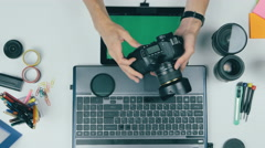 Top view. Man working on green screen tablet in a design studio. Creative Stock Footage