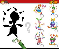 Shadows activity with clowns Stock Illustration
