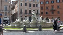 Rome, Neptune Statue in Piazza Navona. Stock Footage