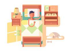 Man sleep in bed Stock Illustration