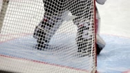Close-up goalkeeper in hockey goal. Stock Footage