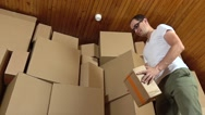 Angry customer throwing cardboard parcel on the floor. Super slow motion clip Stock Footage