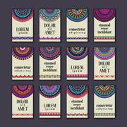 Vintage banners cards set. Ornamental mandala, ethnic circle decorative eleme Stock Illustration
